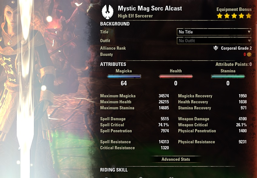 Mystic Magicka Sorcerer PvE Build buffed stats pet setup ESO