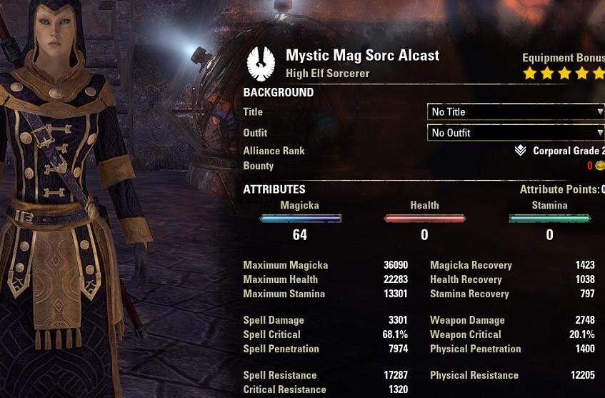 Mystic Magicka Sorcerer PvE Build unbuffed stats NONpet setup ESO