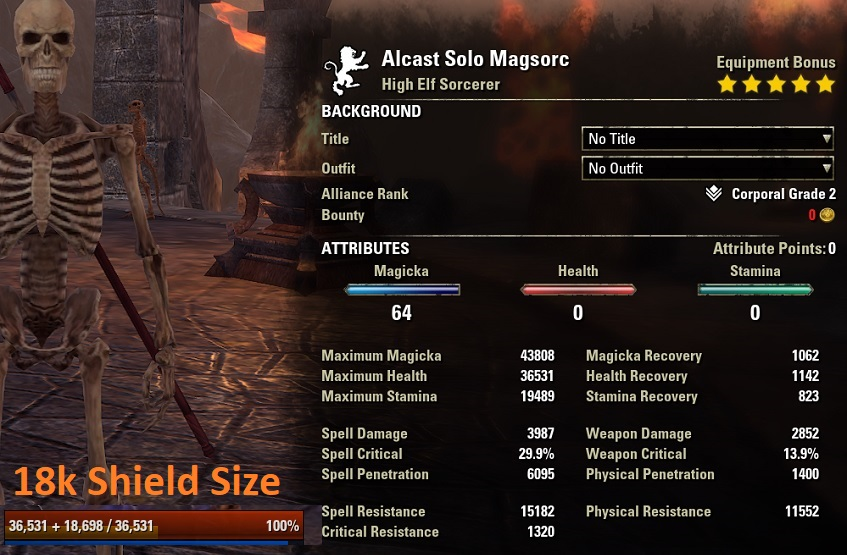 One Bar Sorcerer Build buffed Stats ESO1