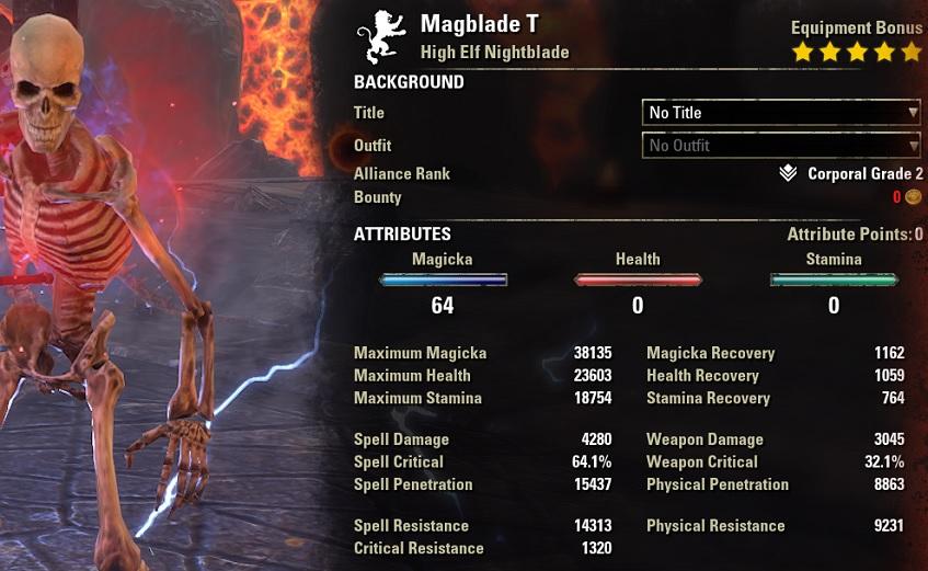 Solo Magicka Nightblade buffed Stats ESO1