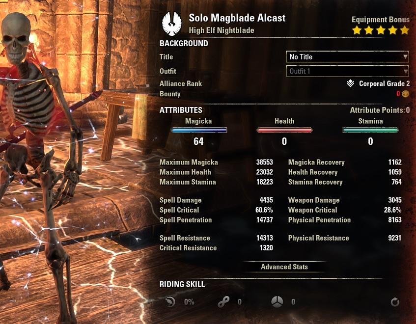 Solo Magicka Nightblade buffed Stats ESO30