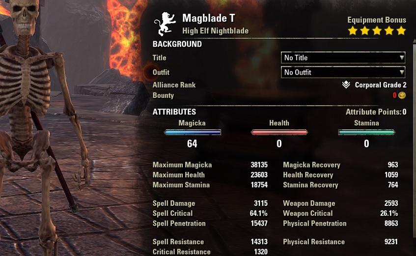 Solo Magicka Nightblade unbuffed Stats ESO1