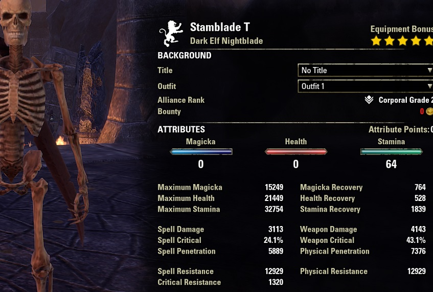 Solo Stamina Nightblade PvE Build unbuffed stats ESO1
