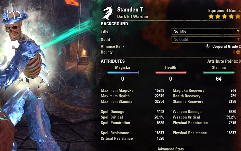 Solo Stamina Warden Build buffed stats ESO1