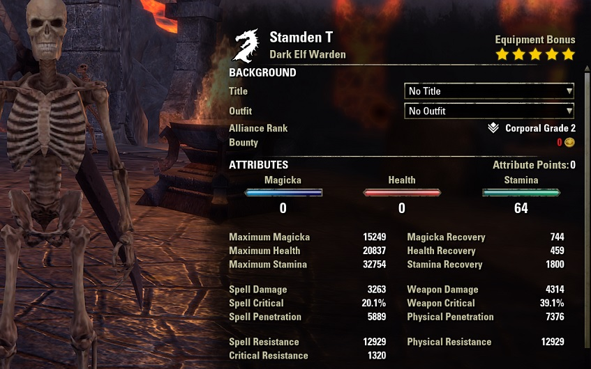 Solo Stamina Warden Build unbuffed stats ESO1