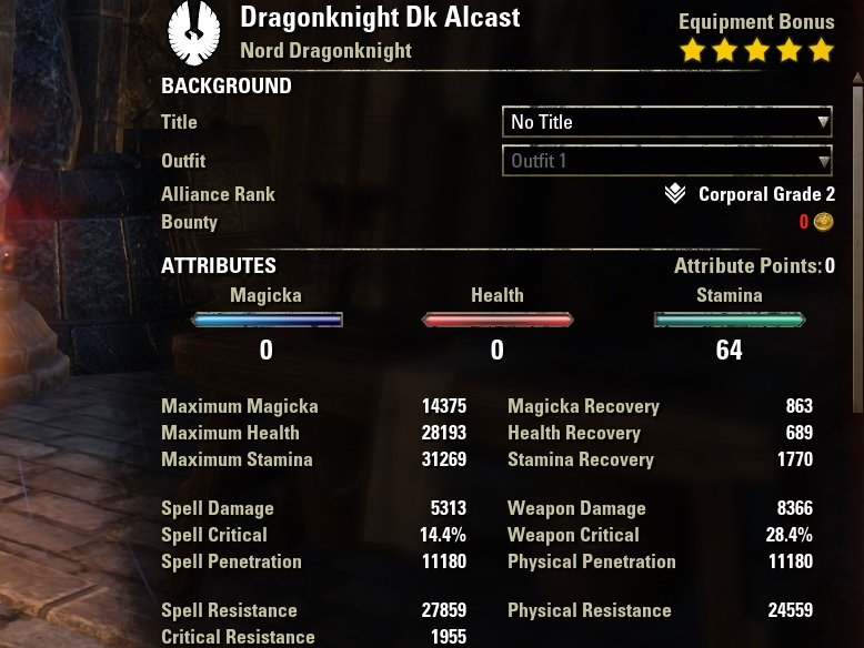 Stamina Dragonknight Legion Pvp build buffed stats ESO30