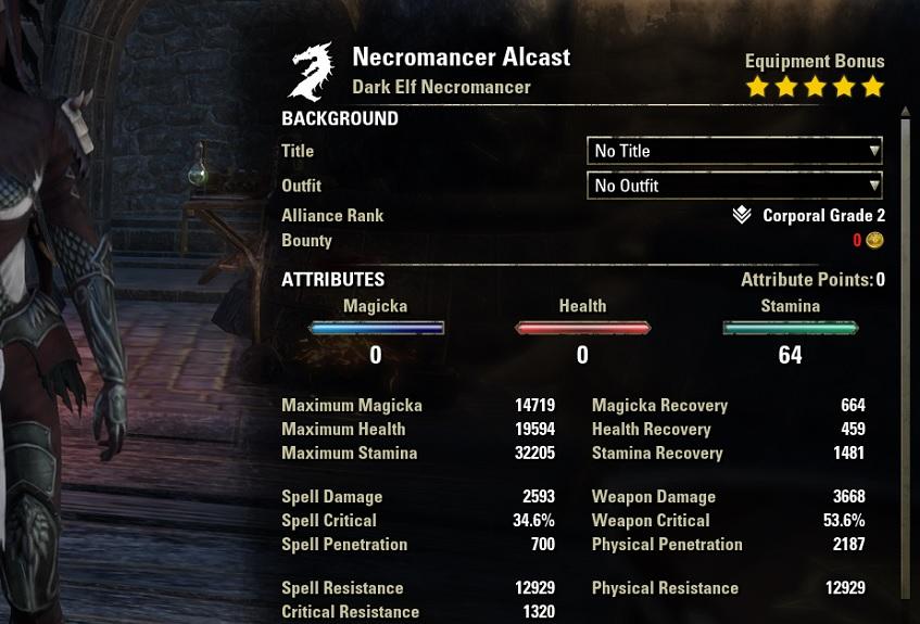 Stamina Necromancer Bow Build unbuffed Stats ESO30