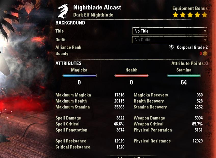 Stamina Nightblade Bow Build buffed stats ESO30