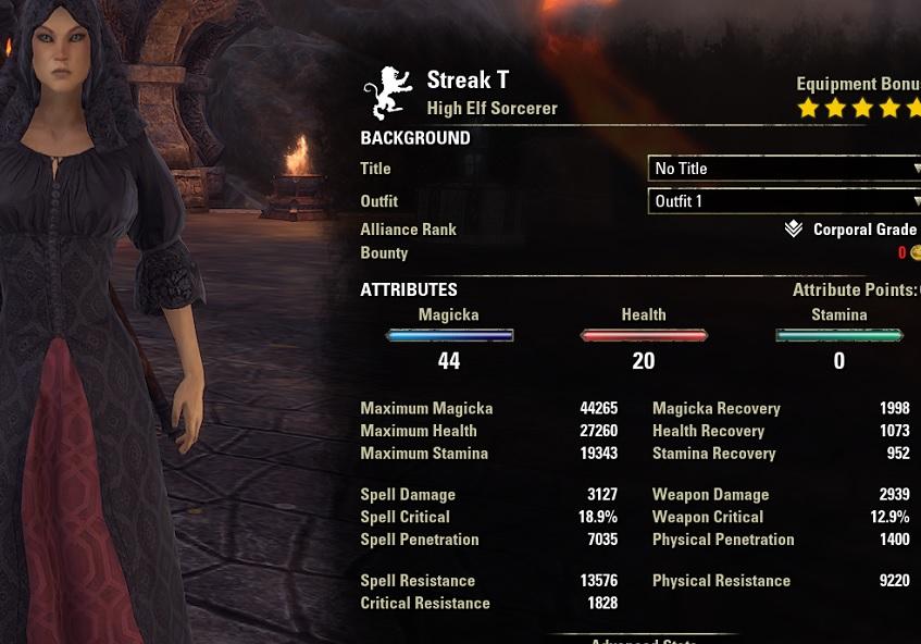 Streak Magicka Sorcerer PvP Build unbuffed stats ESO