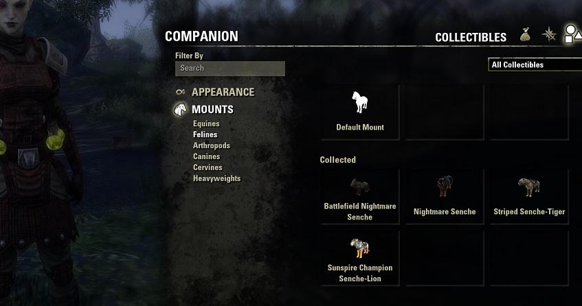 Companion mounts and appearance Blackwood ESO