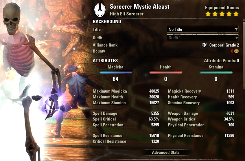 Heavy Attack Sorcerer Build pve buffed stats ESO30