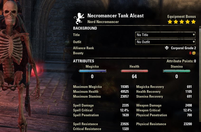 Necromancer Tank Build unbuffed stats ESO30