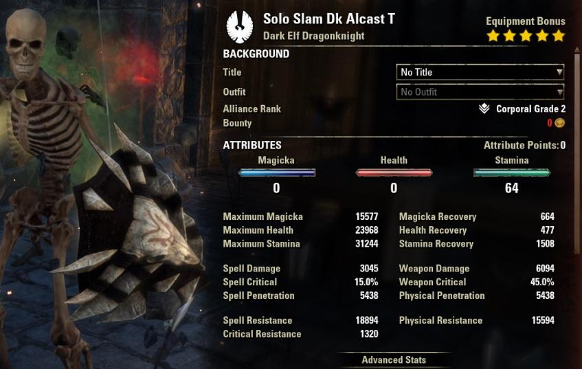 Solo Slam Dragonknight buffed stats ESO30