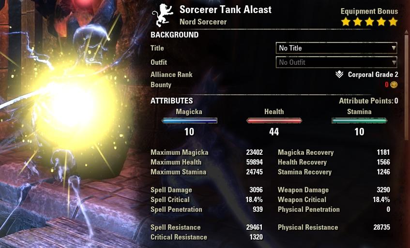 Sorcerer Tank Build buffed stats ESO30