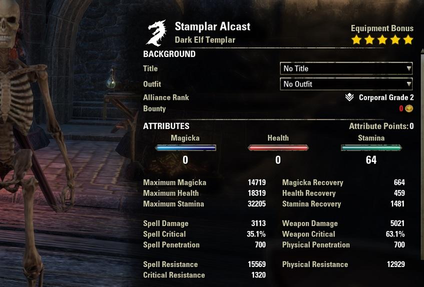 Stamina Templar Two Hander 2H Build unbuffed stats ESO30