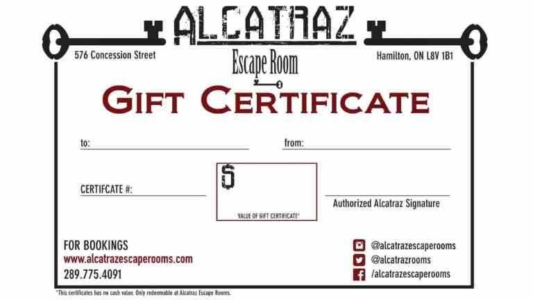 Alcatraz Escape Room - Gift Card