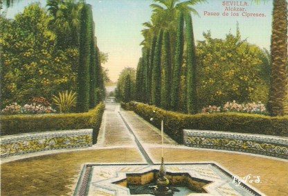 Sevilla, Alcázar, Paseo de los Cipreses. Tarjeta postal, comienzos del siglo XX