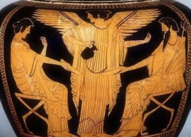 Iris sirviendo néctar a Poseidón y Anfítrite. Cerámica griega de figuras rojas, 480 a.C. Toledo Museum of Art