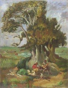 """La sombra del ombú como lugar de encuentro de los gauchos en """"Bajo el ombú"""", Juan Carlos Castagnino (1908-1972)"""