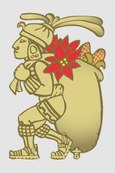 Dibujo Azteca portando la flor de cuetlaxóchitl, México.