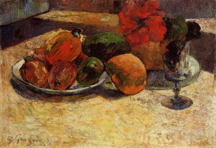 Naturaleza muerta con mangos e hibisco (Paul Gauguin, 1887)