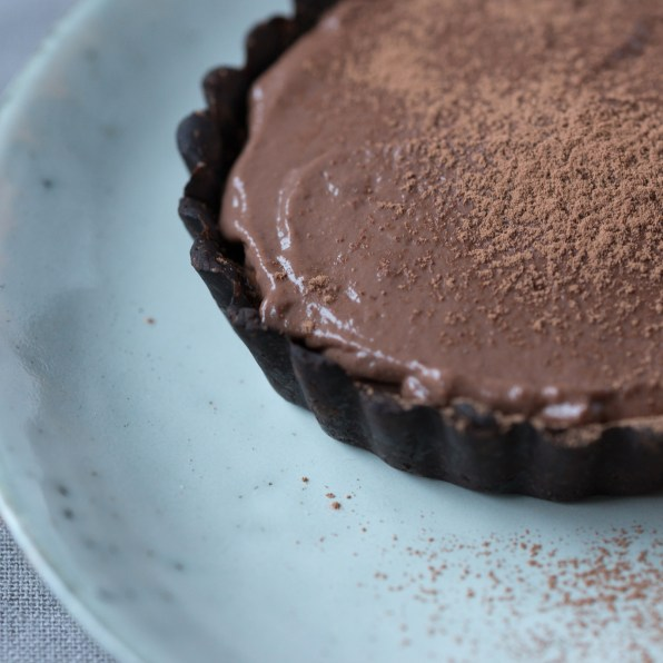 Small chocolate tart on a blue grey plate