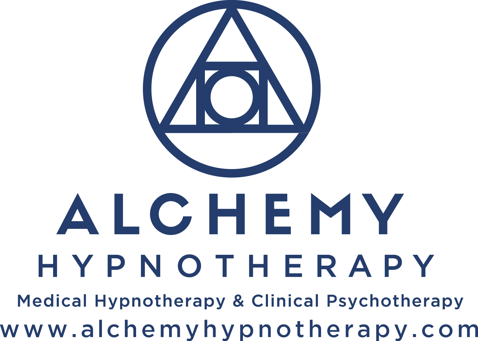 This is the Alchemy Hypnotherapy Logo with the words Medical Hypnotherapy & Clinical Psychotherapy and www.alchemyhypnotherapy.com