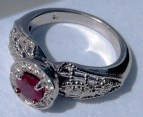 Burmese Ruby set in platinum with Diamonds