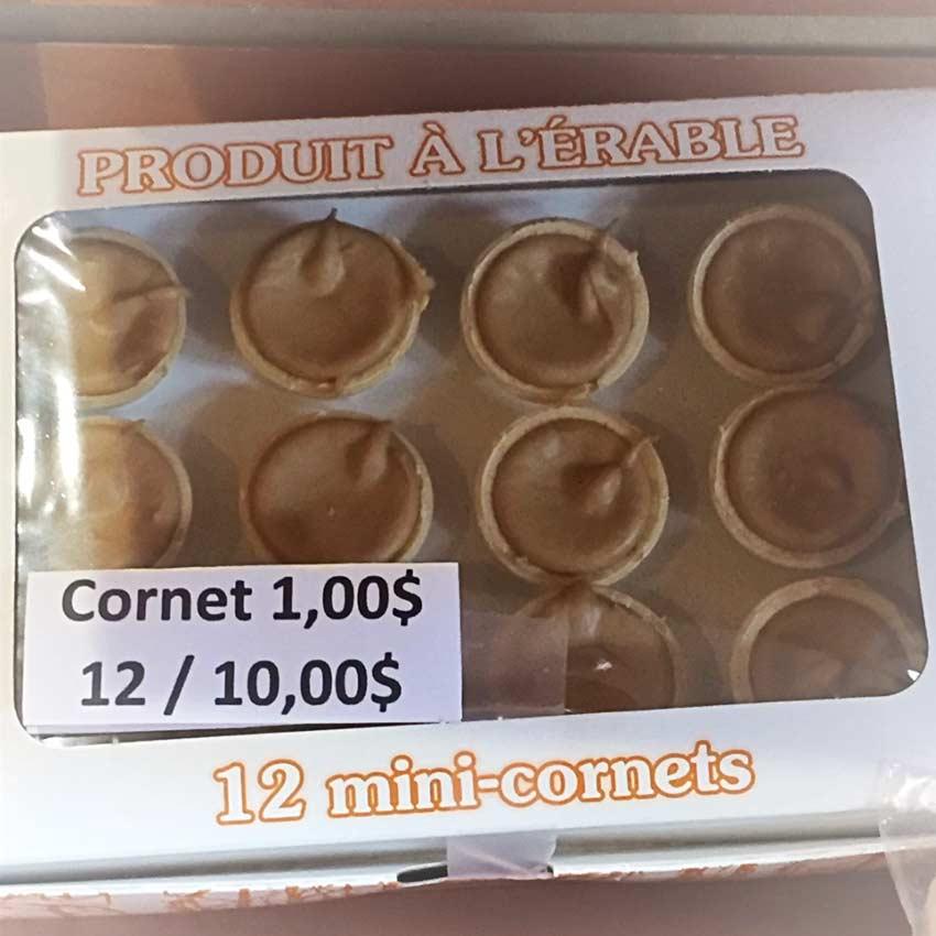 Cornet d'érable : 1,00$ ou 12/10,00$