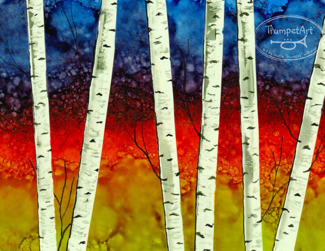 Alcohol Ink Painting Lesson; Birch Trees