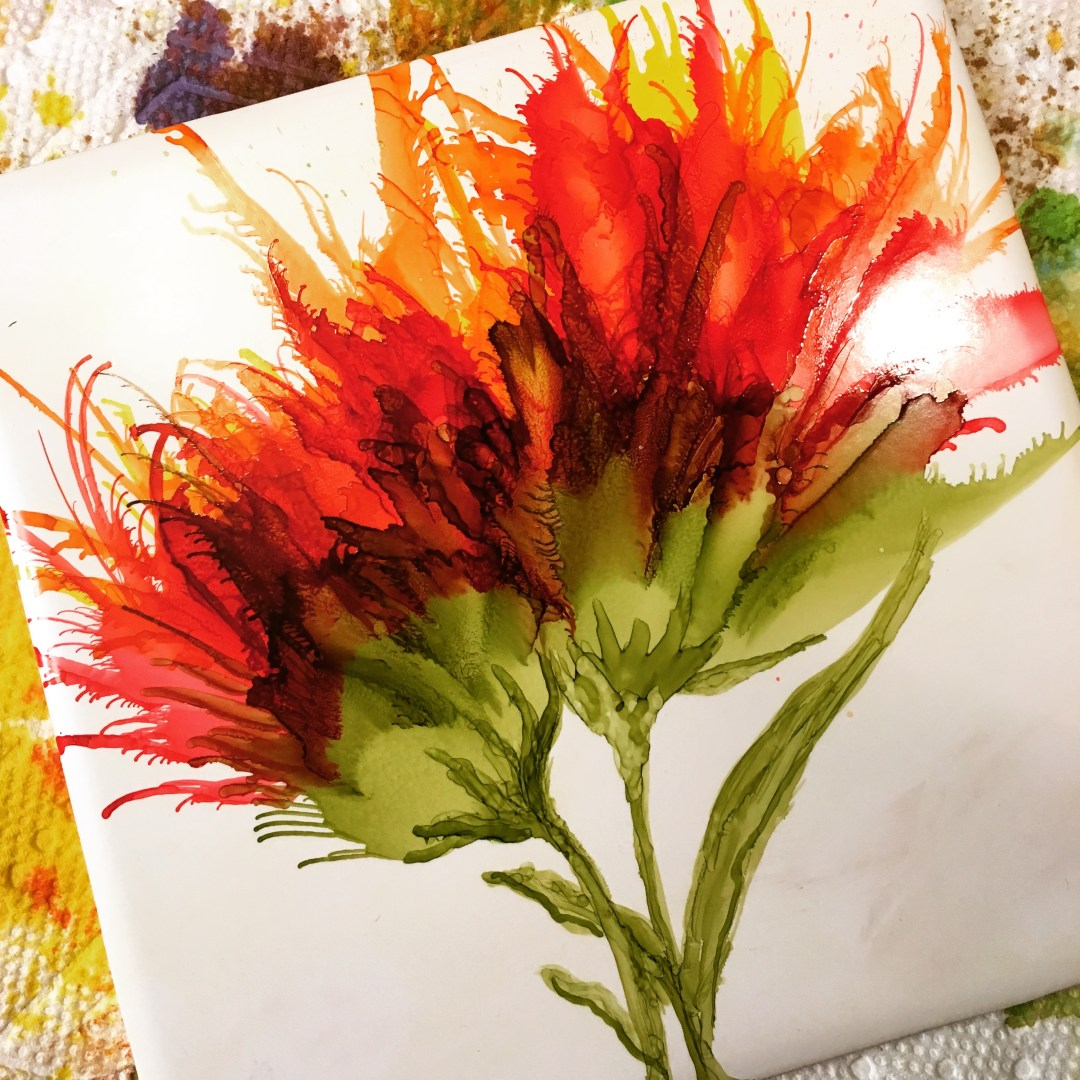 Air Compressor Technique - Alcohol Ink Flower