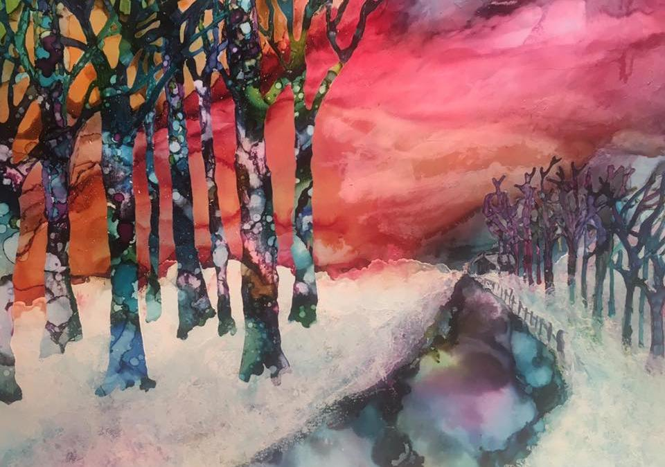 Painting Trees Using Masking Fluid and Alcohol Ink