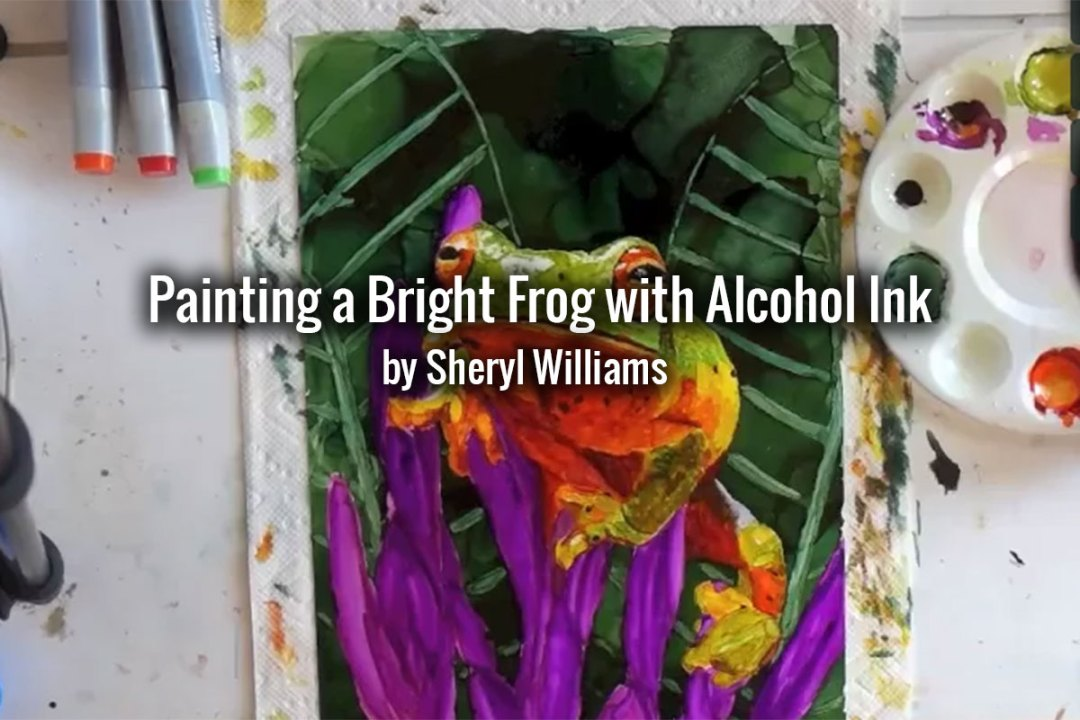 Bright Frog with Alcohol Ink on Yupo Paper