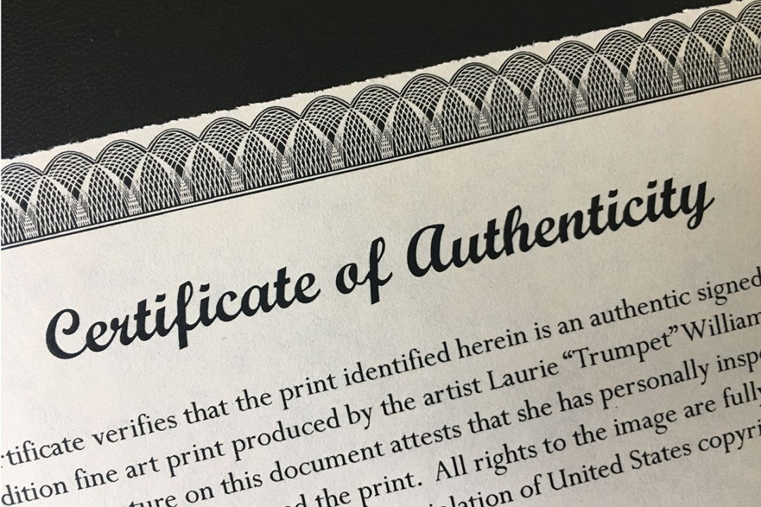 Certificate of Authenticity - Preparing Art and Prints