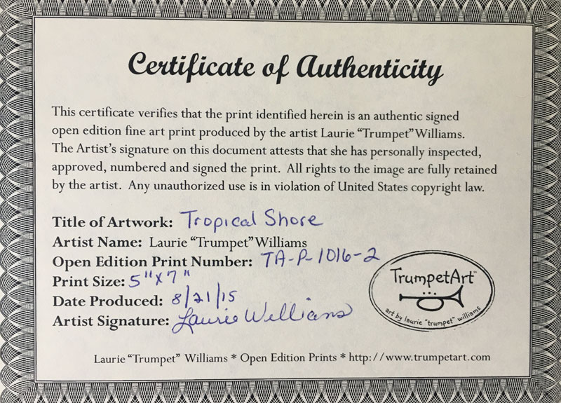 Certificate of authenticity preparing art and prints alcohol to a pre printed certificate of authenticity see image below which i sign and date the coa is packaged with the print typically in an art kit and yelopaper Choice Image