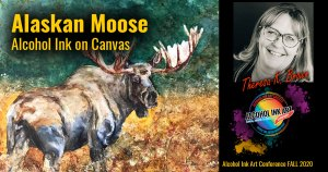 Alaskan Moose Alcohol Ink on canvas