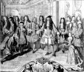 """""""Aquí está vuestro rey"""", el embajador español en francia, Marqués de Castelldosrius reconoce a Felipe de Anjou como nuevo monarca de España, en la corte de Luis XIV"""
