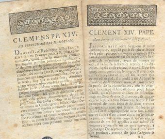 Fragmento del decreto papal para la extinción de la Compañía de Jesús.