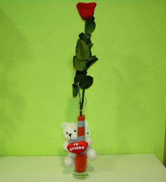 Especial San Valentín: Rosa preservada eterna + jarrón + peluche a 24€