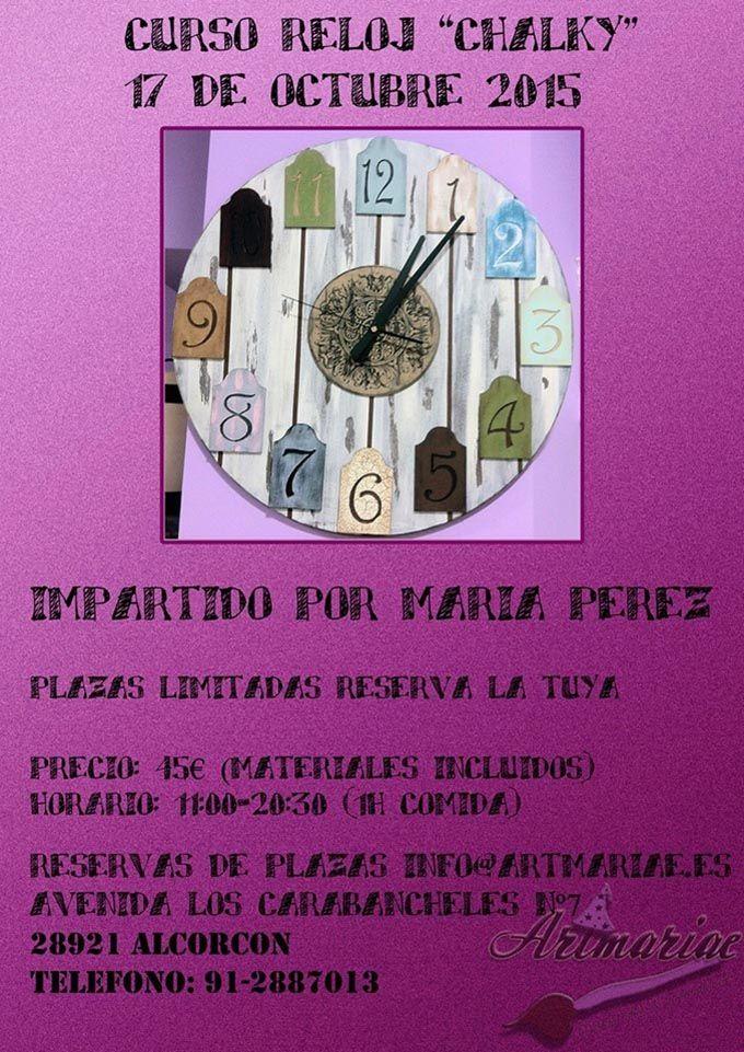 """Curso reloj """"Chalky"""". Reserva tu plaza en info@artmariae.es, en Avd. de los Carabancheles 7 o en 912887013"""