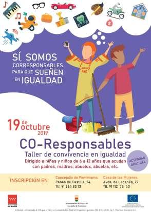El 19 de octubre se realizará una taller para convivir en igualdad con los más jóvenes de Alcorcón. Alcorcón es Co-responsable.