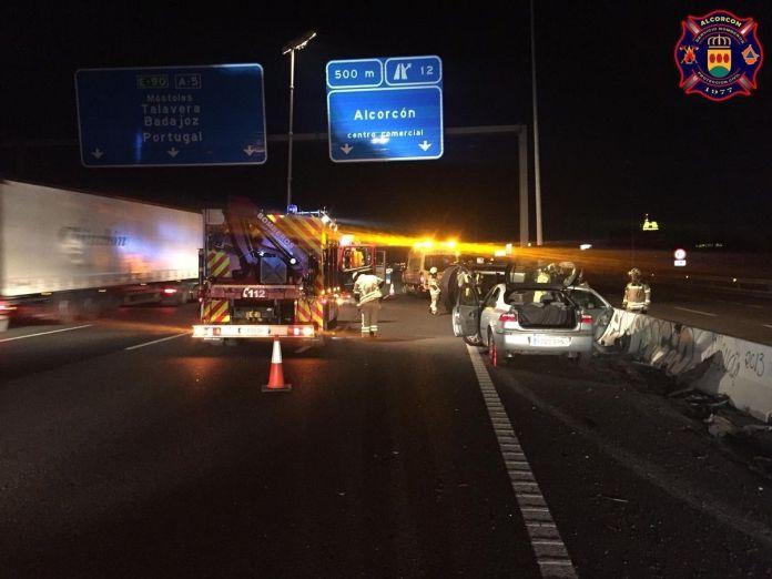 Accidentada noche en la A5 a la altura de Alcorcón
