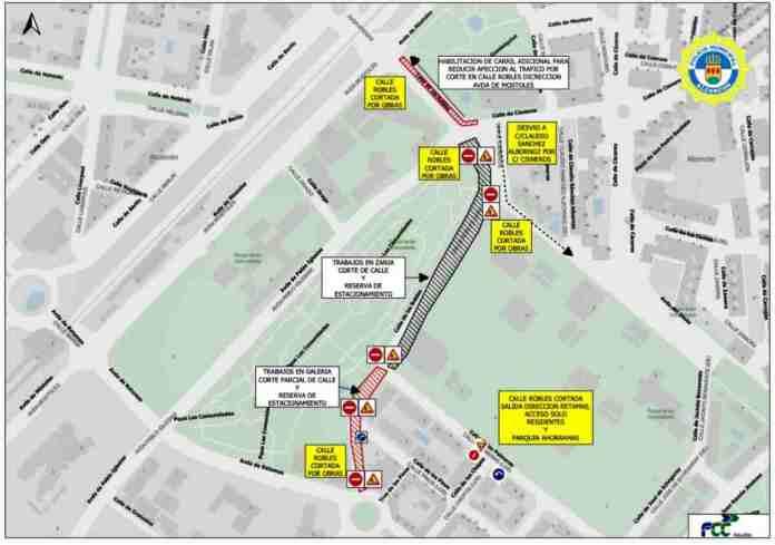 Desde el 15 de febrero cortes de tráfico en la calle robles de Alcorcón
