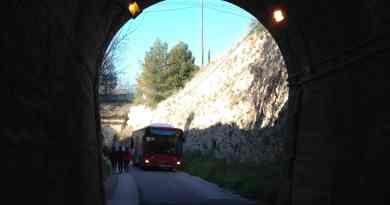 Bus entering tunnel Batoy,Alcoy