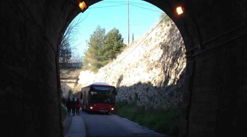 Bus entering tunnel Batoy,Alcoy