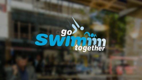 Go Swimm logo on glass
