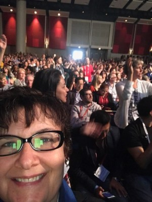 "Selfie of Carey Hunt with crowd singing ""We Are Family"" at Hillary Clinton's speech during ALA Annual 2017"