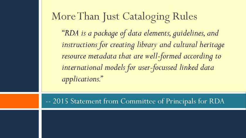 "Slide from Kathy Glennan's presentation titled ""RDA, Linked Data, and the 3R Project"""