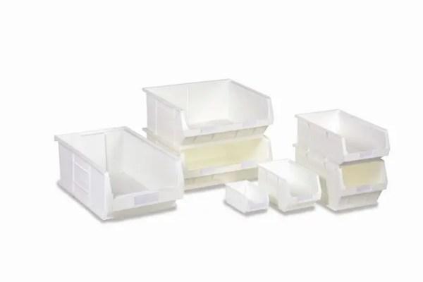 white antibacterial bins