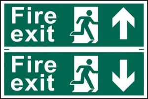 Fire Exit Man Running and Direction Arrow Safety Signs